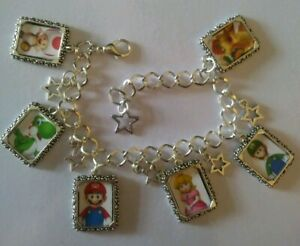 Silver-Plated-Charm-Bracelet-With-Charms-New-Nintendo-Mario-Kart-Party-Yoshi