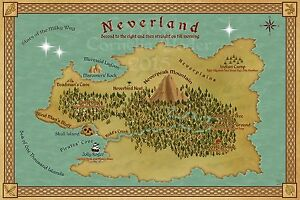 Map Of Neverland Based On Peter Pan By J M Barrie Ebay