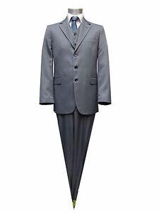 Herren-Anzug-mit-Weste-Sonderangebot-Gr-90-Grau