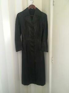 Vintage-Womens-Black-Size-10-Leather-Fully-Lined-Long-Coat-120