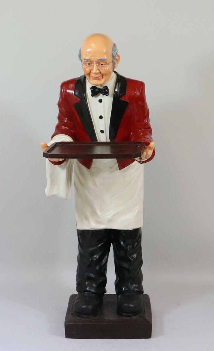 Ober Kellner mit Tablett Speisekarten Ablage 143 cm Restaurant Figur (HP108)