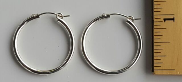 Hoop Earrings 1 Inch Round 2 Mm Thick 925 Sterling Silver 4 Grams