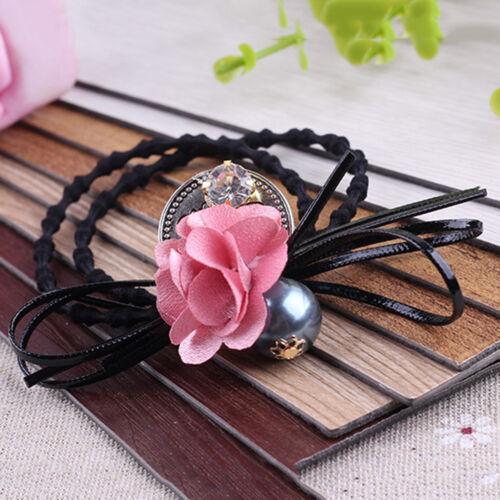 Femme cheveux bande corde élastique fleur porte-queue accessoires