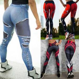 Women Sports Compression Fitness Leggings Running Yoga Pants Gym Workout Stretch