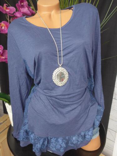 40//42-48//50 Blau mit  schöner Spitze unten NEU Sheego Viskose Shirt Gr 298