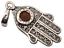 thumbnail 4 - Hamsa Hand Pendant 925 Sterling Silver Brown Baltic Amber Filigree Design  #41