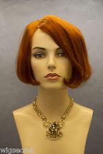 Striking Red Short Human Hair  Straight Wigs