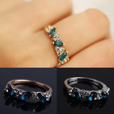 Fashion Womens Vintage Womens Girls Emerald CZ Rhinestone Ring Jewelry Gift New