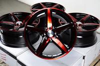 17 Red Black Wheels Rims 4 Lugs Escort Accord Civic Insight Prelude Miata Yaris