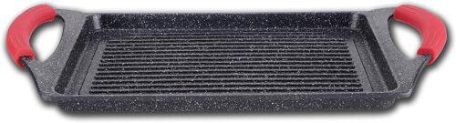 bistecchiera rettangolare pietra nera 46 cm stone vulcanica EN-22141 Griglia