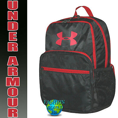 59a15070042f Under Armour HOF Youth Backpack School Book Bag Black Camo Red 1256655 008