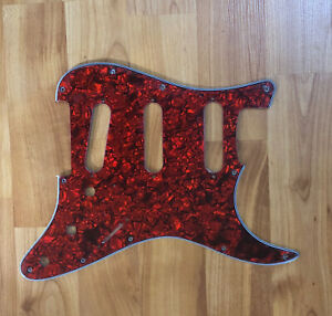 NEW-Red-Pearloid-SSS-Stratocaster-PICKGUARD-for-Fender-Strat-Single-Coil-Pickups