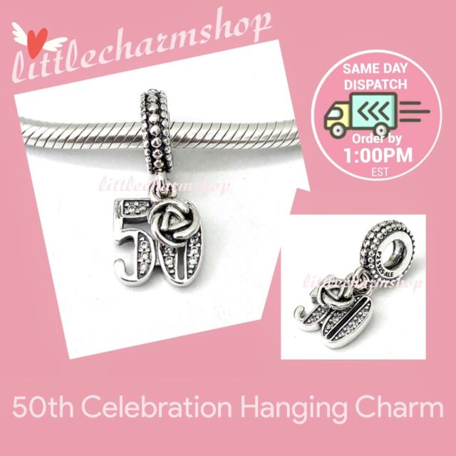 New Authentic Genuine PANDORA Silver 50th Celebration Hanging Charm - 797264CZ