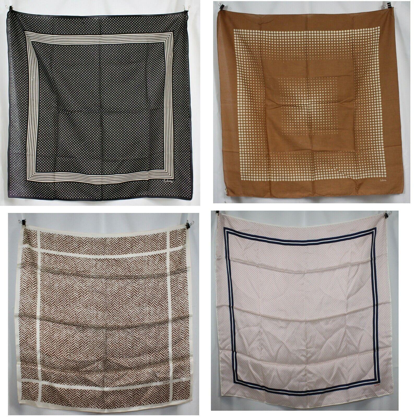 4 Vintage Echo Scarf Scarves Lot Polka Dots Chevron Cotton & Silk Retro 60s 70s