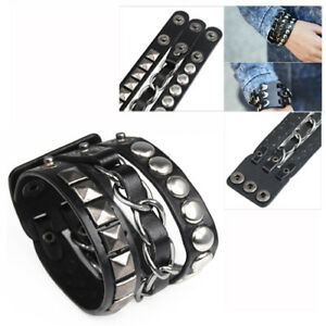 Punk-Rock-Rivet-Multi-Layered-Kreis-Pyramide-Bolzen-Kette-Leder-Armband