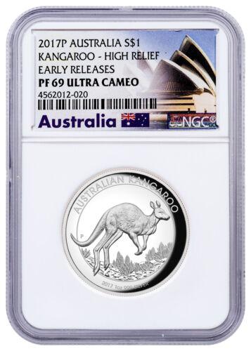 2017 Australia 1 oz High Relief Proof Silver Kangaroo $1 NGC PF69 UC ER SKU48632