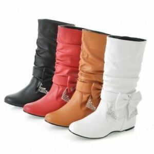 1 Womens round toe Flat PU Leather Slouch Low Heel Mid Calf Boots plus size