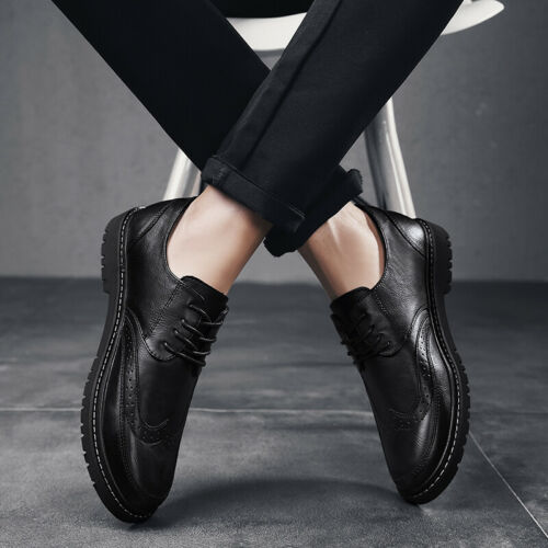 Details about  /Retro Mens Dress Formal Business Leather Shoes Work Oxfords Lace up Party Flat D