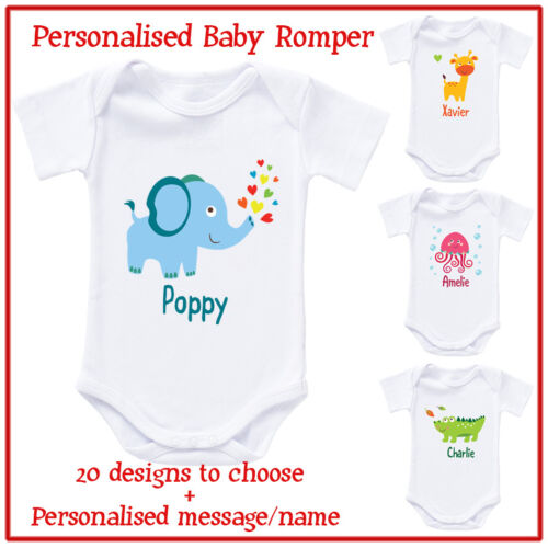 Personalised cute animal Customised Baby Romper Bodysuit and T-Shirt