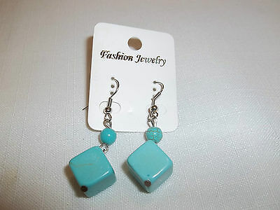 VERY CUTE & ATTRACTIVE TURQUOISE PIERCED DICE SHAPED EARRINGS........NICE