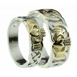 Image Is Loading Pair 14k Gold Irish Handcrafted Celtic Claddagh