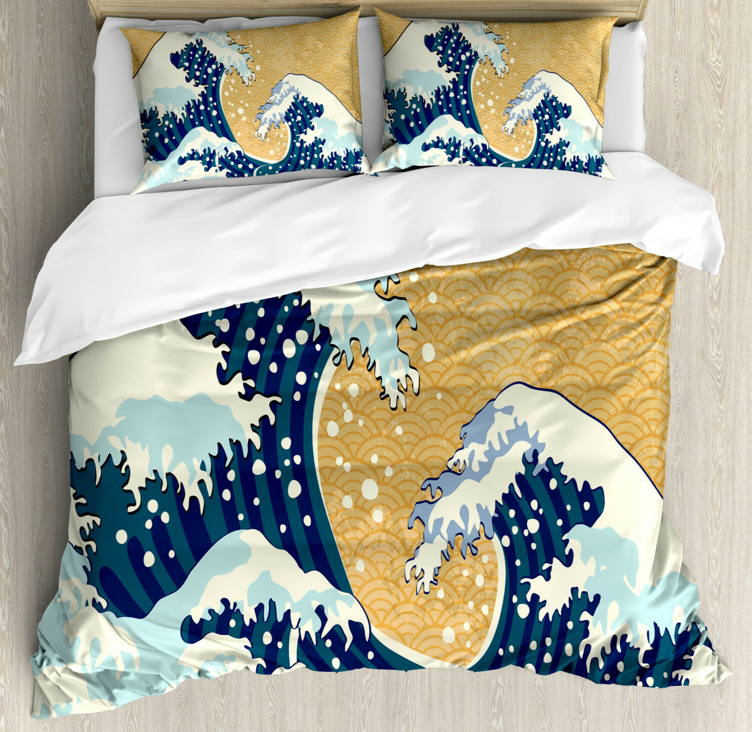 Japanese Wave Duvet Cover Set with Pillow Shams Foamy Sea Storm Print