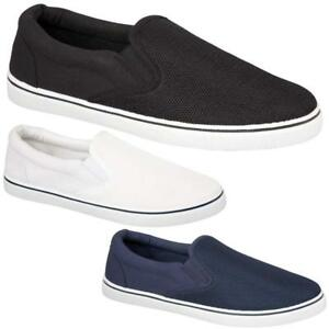 567e01ba695 Image is loading Mens-Casual-Canvas-Shoes-Plimsolls-Pumps-Gusset-Slip-