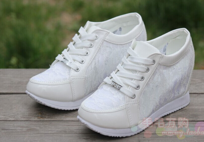New Womens Roman Wedge Heel Lace Up Mesh Rhinestone Sneakers Trainer shoes Sz