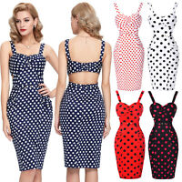 Retro Vintage Style 40's 50's Pin Up Wiggle Pencil Cotton Polka Dots Party Dress