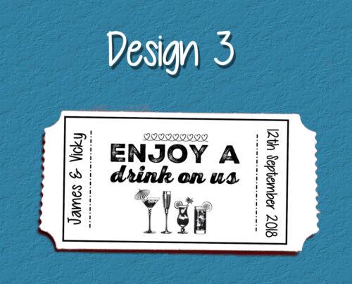 """3 Designs Personnalisé Billet Style /""""Free boissons/"""" jetons pour les mariages"""