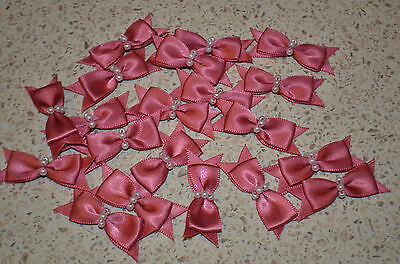 SATIN TAILORED BOW WITH PEARLS ROSE MADDER QTY 15 EMBELLISHMENT SEWING CRAFT