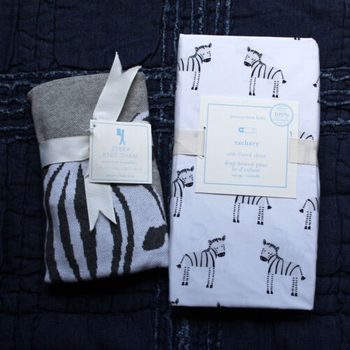 POTTERY BARN KIDS Zachary Zebra crib fitted sheet knit sham 2pc gray