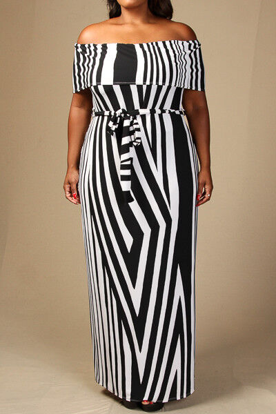 Plus Size Off The Shoulder Striped Waist Tie Maxi Dress White (1x, 2x, 3x)
