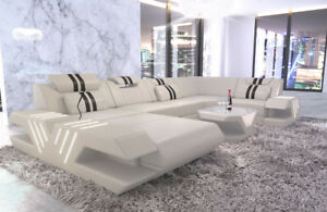 Sofa Couch Wohnlandschaft Luxus Design Venedig U Form Ottomane Leder