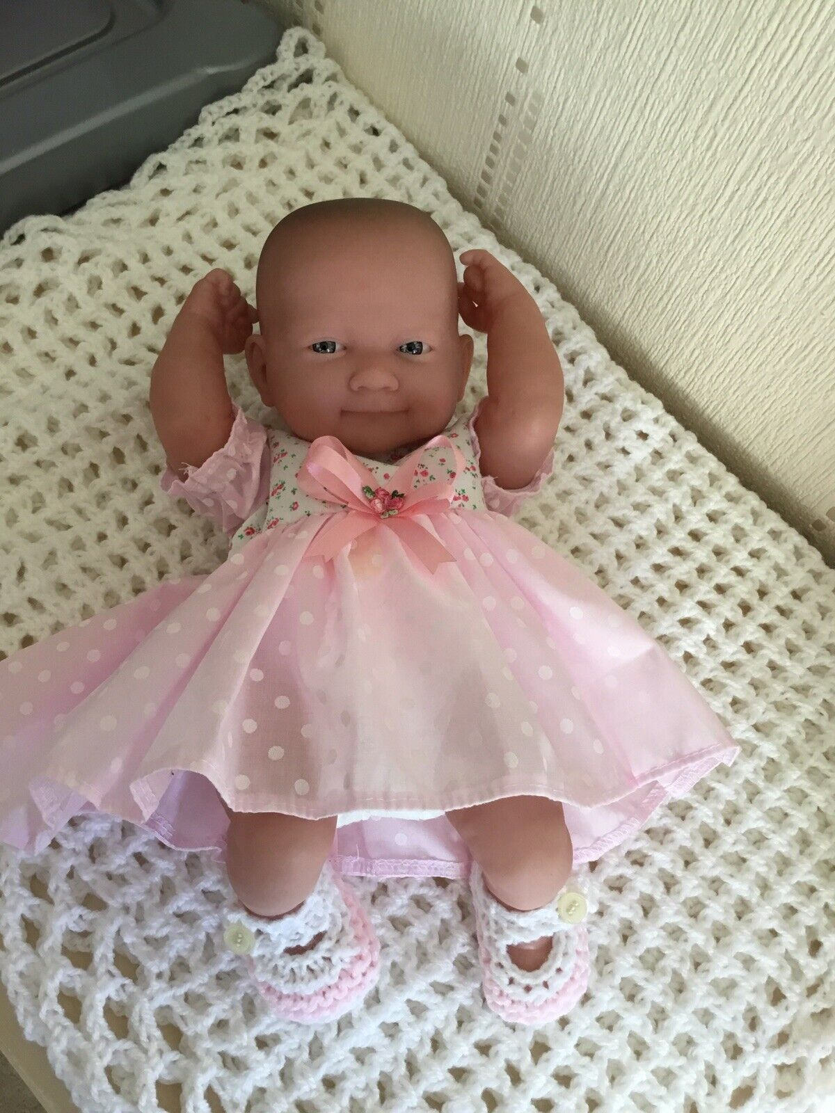 Berenguer Baby Doll In Pink/White Spotted Dress, Nappy + Pink/White Shoes.