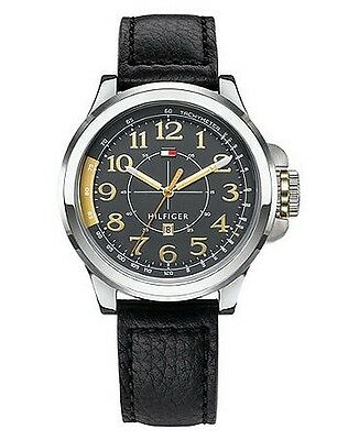 New Tommy Hilfiger Black Leather Date Men Dress Watch 45mm 1790843 $115