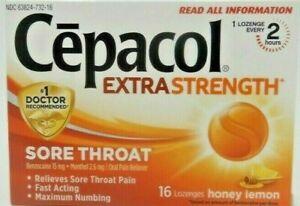 Details about Cepacol Sore Throat Lozenges Honey Lemon 16ct exp 06/2020