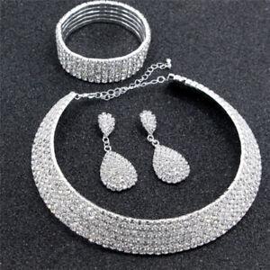 Crystal-Diamond-Choker-Halskette-Ohrringe-und-Armband-Hochzeitsschmuck-0U-B-xj