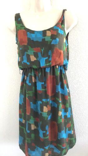 circa 1960 watercolor print silk dress  40-26-39