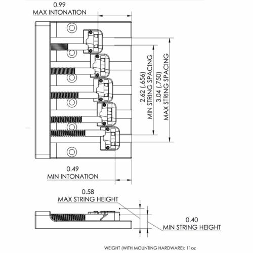 BLACK NEW Hipshot 5-String KICKASS High Mass Bass BRIDGE for BADASS Replacement