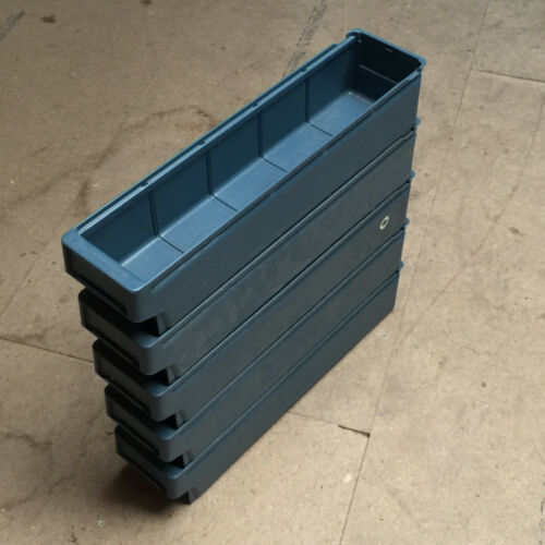 x5 Grey Stacking Stock Warehouse Bins Shelf Storage Containers Trays Boxes