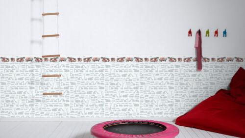 Enfants nappes papier peint Pelleteuses Camions Voitures Blanc Gris 35815-1