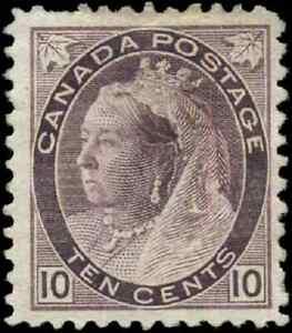 Canada-83-mint-F-OG-HHR-1898-Queen-Victoria-10c-brown-violet-Numeral-CV-475-00