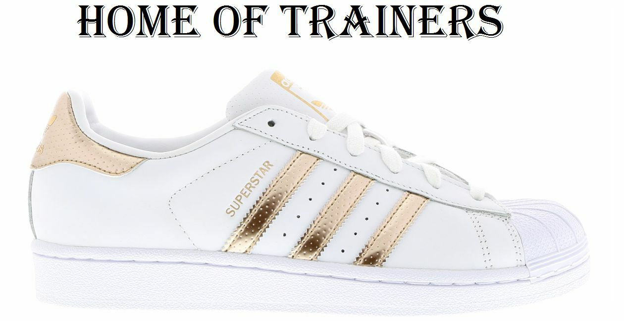 Adidas Superstar White-Rose Gold-White Women's Girls Trainers All Sizes