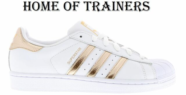 c6fa6141ff2e Details about Adidas Super Star (GS) White Black Gold Women Boys Girls  Trainers All Sizes