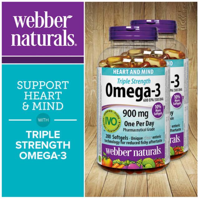 Webber Naturals Omega 3 900mg 180 Softgels Grocery For Sale Online Ebay