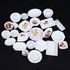 33 Pcs Miniature 1:12 Scale Dollhouse Kitchen Tableware Chinaware Plastic Plates