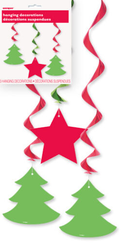 Christmas Party Decorations Hanging Swirls Lanterns Streamers Fans Honeycombs
