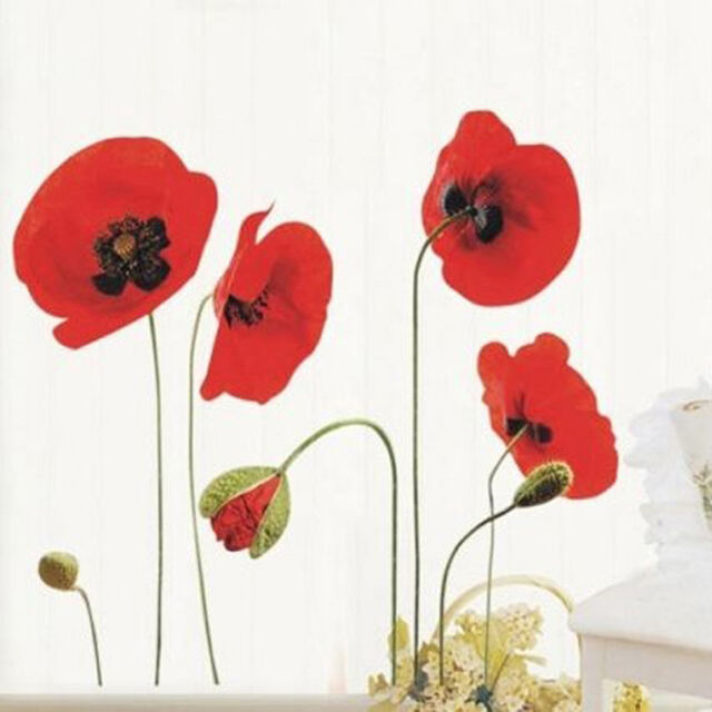 Walplus Red Poppy Flowers Removable Transparent Wall Art Decal