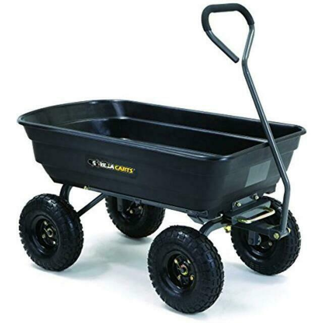 Gorilla Carts GOR4PS Poly Garden Dump Cart With Steel Frame And 10 In. Pneumatic - $115.00